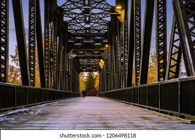Red Deer, Alberta/Canada- October 4, 2018: Red Deer Bridge at Sunset during Fall Season
