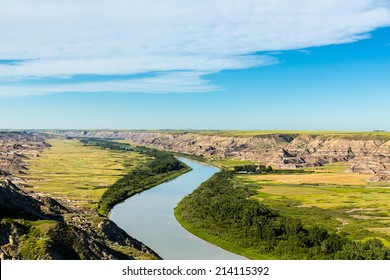Red Deer River at the canadian badlands valley in canada
