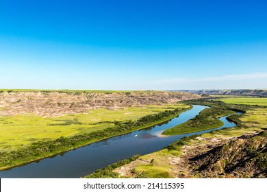 Red Deer River valley near drumheller in canada