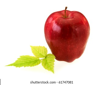 Red delicious apple on white with copy space