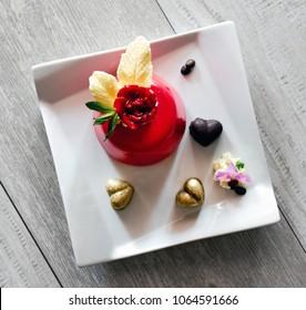 Red dessert. Restaurant dish