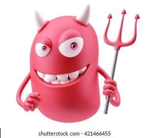 Red Devil Emoticon Face. 3d Rendering.