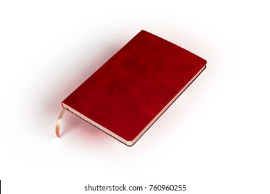 Red diary isolated on white background.
