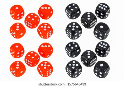 Red dice and black dice isolated on white background. Casino gambling dices. Red and black dices. Gambling dices isolated on white