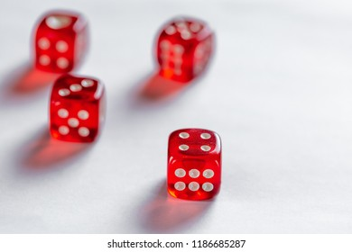 Red dice concept for business risk, chance, good luck or gambling on white background
