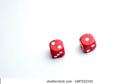 Red dice isolated. On white background