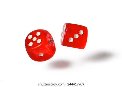 Red dice isolated on white