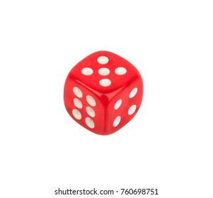 red dice with number five on the top isolated on white background