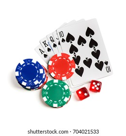 Red dice, play cards as royal flush  and chips isolated on white. Top view