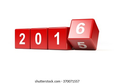 Red dices are sitting on white background. On dices there are numbers demonstrating that year 2016 is coming while year 2015 is just about to pass. Isolated on white background with clipping path.