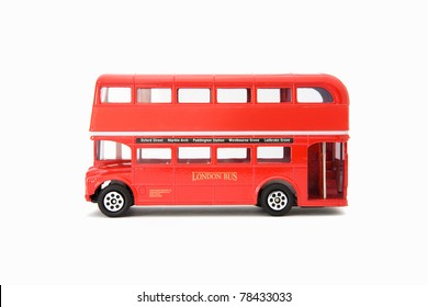 red Die cast miniature London Route Master bus