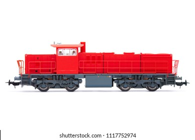 The Red Diesel Locomotive isolated over white background