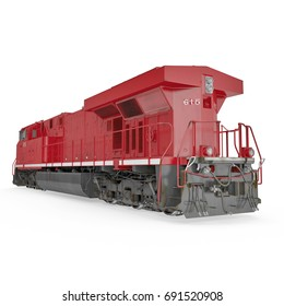 Red Diesel Locomotive on white. Rear view. 3D illustration, clipping path