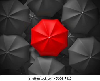 Red different umbrella over many black umbrellas. Business leadership concept. 3d render illustration