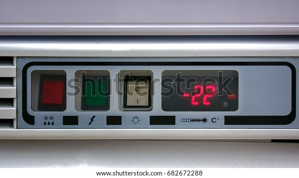 Red Digital Display of Temperature settings on a Commercial Freezer