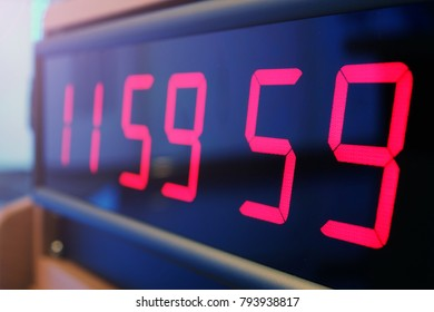 Red digital Timer, numbers counting.