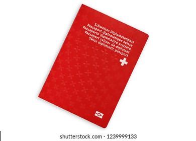 Red diplomatic passport of Switzerland isolated on white background