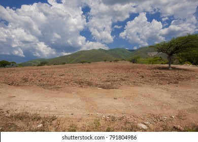 Red dirt in the field which prepare to grow crops, in the arid zone of the eastern region of Guatemala.