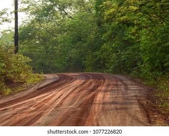red dirt road in rural