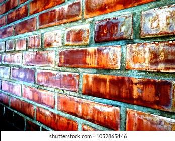 Red dirty brick wall backraund