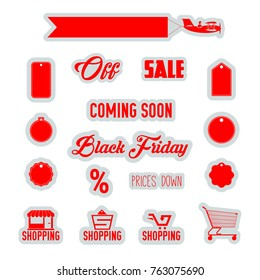 Red Discount Tags, Shopping Icons, Supermarket Trolley, Airplane Banner Isolated on White Background. Black Friday Sale Emblems.