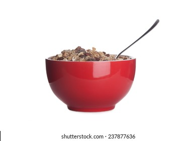 red dish with cereals isolated on white background