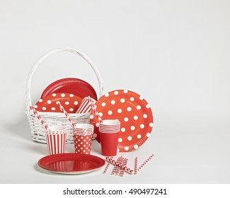 Red disposable tableware for parties and picnics. Selective focus.  sc 1 st  Shutterstock & Paper Party Images Stock Photos \u0026 Vectors | Shutterstock