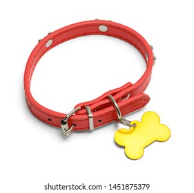 Red Dog Collar with Gold Dog Tag Isolated on White.