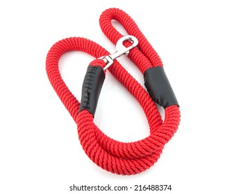 red dog leash isolated on white background