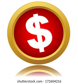 Red dollar icon on a white background