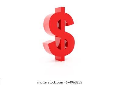 red Dollar Sign On White Background. 3d Render Illustration