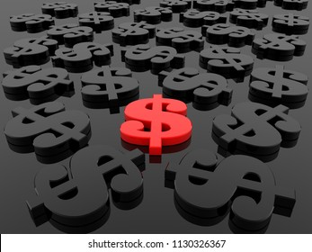 Red dollar signs between black dollar signs.3d illustration