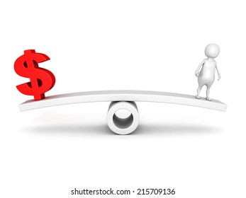 red dollar symbol and human icon on scale. business concept 3d render illustration