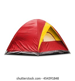 Red dome tent, isolated on white background with clipping path