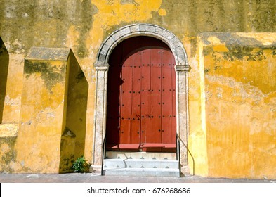 Red door of a church in downtown, Campeche, Mexico