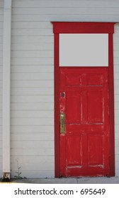 red door with space for text