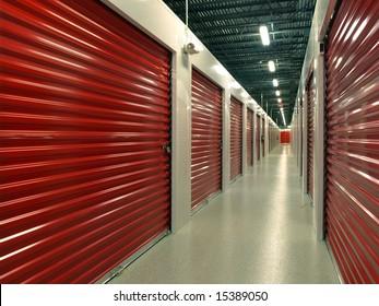 Red door Storage Units hallway perspective