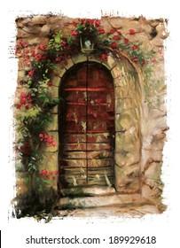 red door torn edges