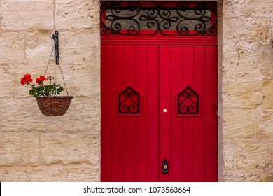Red doors with decorative red flowers hanging on the wall & Red Door Images Stock Photos u0026 Vectors | Shutterstock