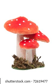 red dotted decoration mushrooms isolated on a white background