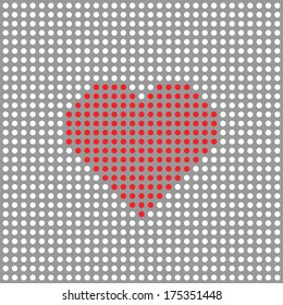 Red dotted heart on white background