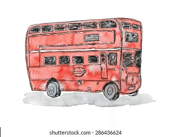Red double bus watercolor illustration