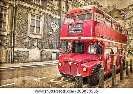 52684c45f5d9 Stock fotografie na téma Red Double Decker Bus Vintage Sepia (k ...