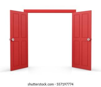 red double door open on white background 3d  rendering