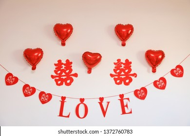 Red Double Happiness and Love Decorated on the Wall