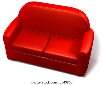 Red double seated sofa on white background