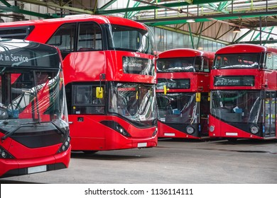 Red double-decker buses at Ash Grove garage in Hackney, East London