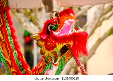 Red Dragon puppet at a vendor stall at the 2018 Lunar New Year Festival in Houston, TX.