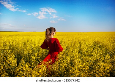 in a red dress beautiful girl standing in a field