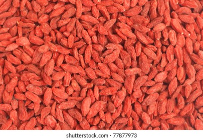 Red dried goji berries (Lycium Barbarum - Wolfberry) forming a background